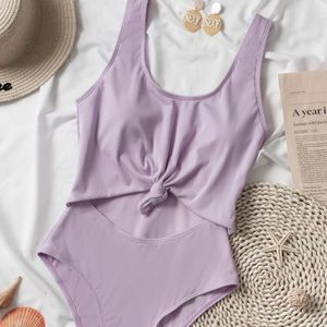 NWT Rib Cut-Out Knot Hem One Piece Swimsuit